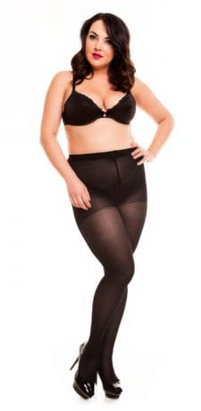 Plus size model wearing Glamory vital 40 support tights in color black front view