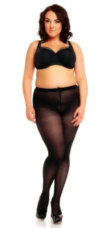 Plus size model wearing Glamory microstar 50 tights in color black front view