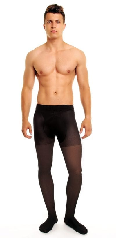Men's Support 70 tights 70 denier black front view full body