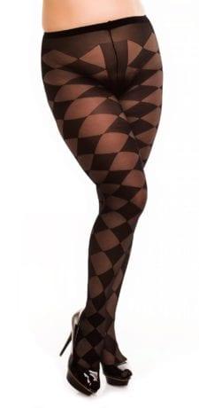 Glamory Diamond 20 Patterned Tights 20 denier black front view half body
