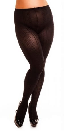 Glamory Marea 70 Patterned Tights 70 denier black front view half body