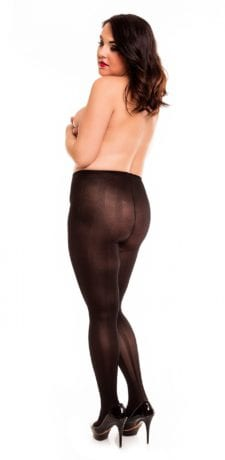 Glamory River 70 Patterned Tights 70 denier black back view full body