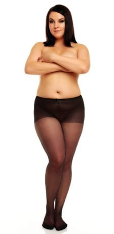 Glamory Amore 20 Seamed Tights 20 denier with back seam black front view full body